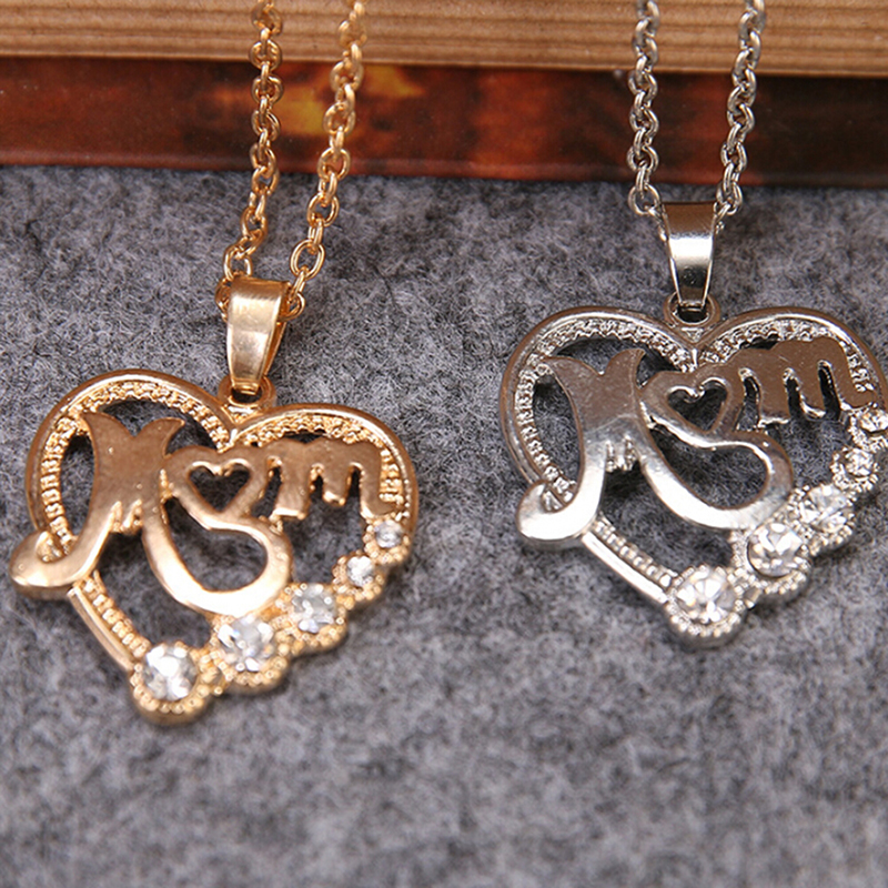 2019 Mother's Day MOM Word Engraved Heart Love Pendant Necklace Gift For Mom 16