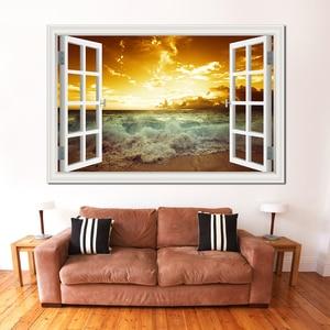 3d стикер на стену, вид окна, морское побережье, закат, декорация для украшения дома, аксессуары для художественного декора
