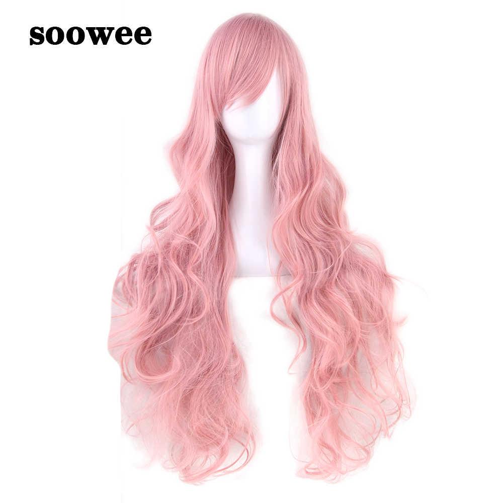 Soowee 32 дюйма синтетические волосы длинный волнистый парик для косплея высокотемпературное волокно розовый зеленый серый костюм парики из натуральных волос для вечеринки