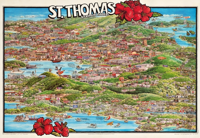 Vintage Europe Map Poster St. Thomas U.S. Virgin Islands Classic ...