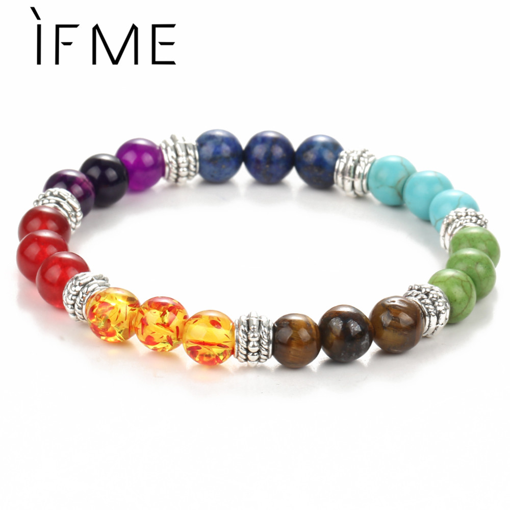 IF ME Fashion Chakra Bracelet Men Black Lava Healing Balance Beads Reiki