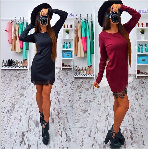 2016 Autumn Lace Patchwork Women Dress Fashion O-neck Long Sleeve Black Red Elegant Dresses Casual Bodycon vestidos Plus size