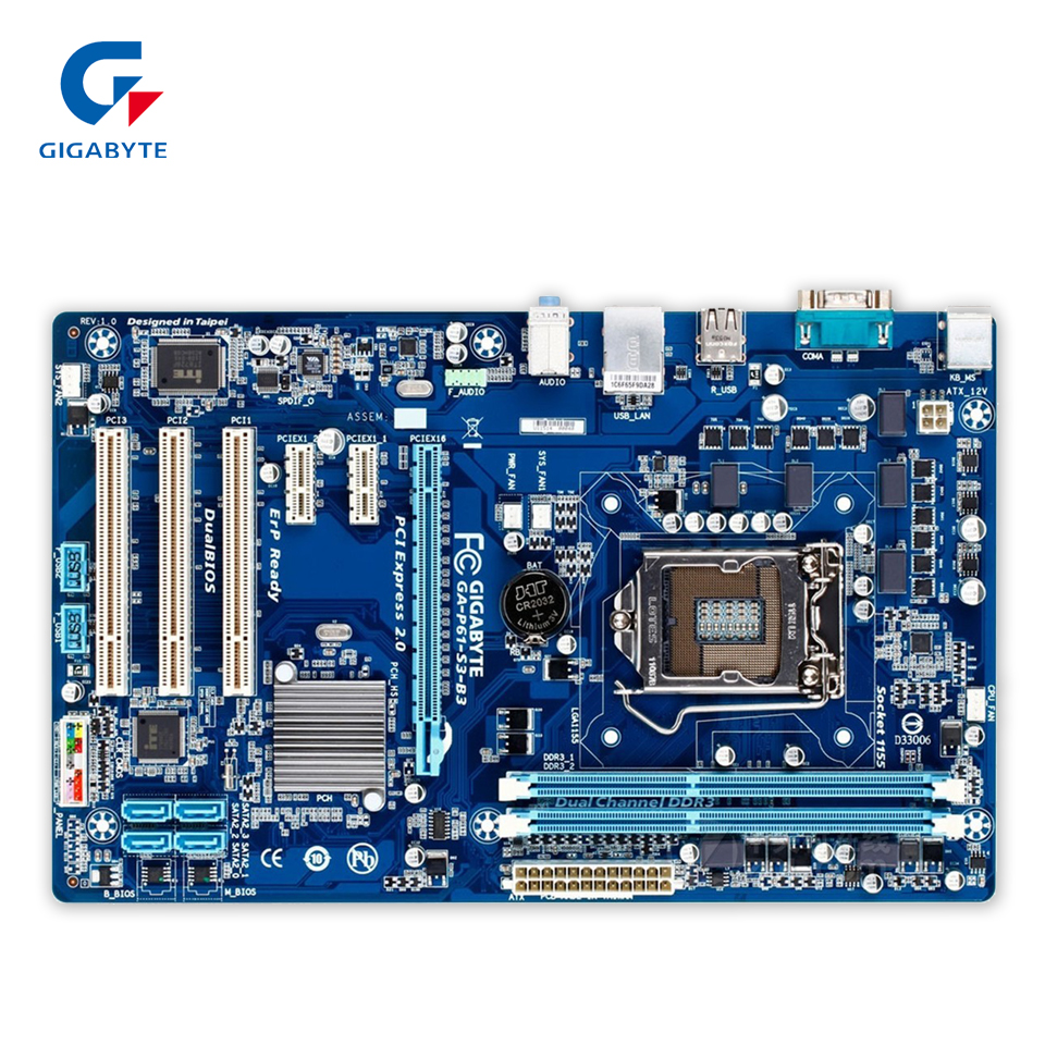 Gigabyte GA-P61-S3-B3 Original Used Desktop Motherboard P61-S3-B3 H61 LGA 1155 i3 i5 i7 DDR3 16G ATX ga p61 s3 p61 desktop motherboard large panel p61 s3 a 1155 ddr3 100% tested perfect quality