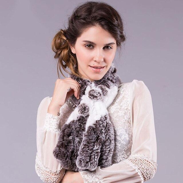 Hot sale Genuine Rex Rabbit Fur Scarves winter Real fur scarf for women Wraps female Fur Accessory Neckerchief lattice scarf