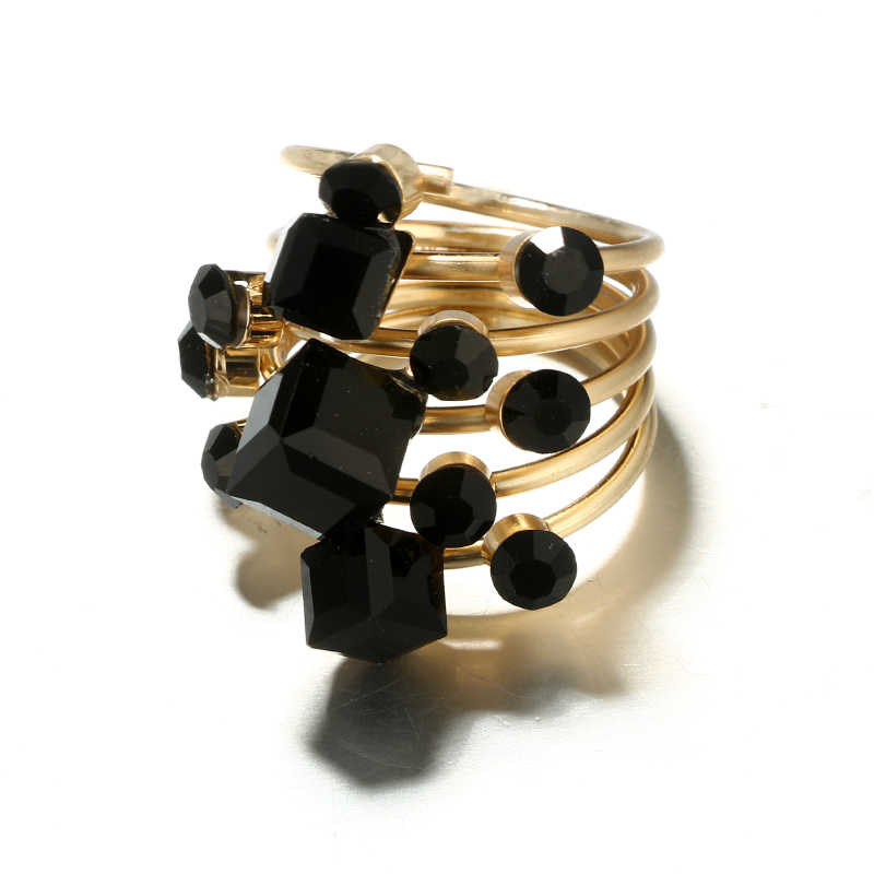 Tocona VINTAGE Antique GOLD Black Rhinestone เปิดนิ้วมือแหวน MIDI ชุดสำหรับผู้หญิง Punk เครื่องประดับ бижутерия