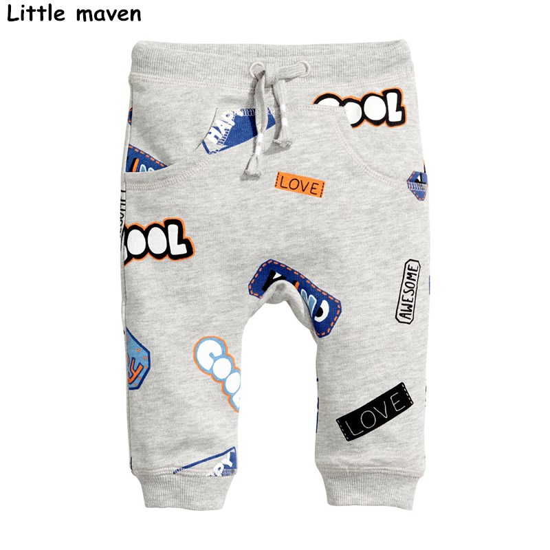 Little maven 2017 Autumn baby boy clothing cotton drawstring pants children's letter print kids trousers school pants 10153 men letter print side pants