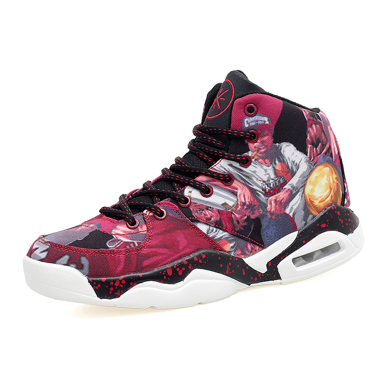 ФОТО KERZER Men Basketball Shoe Black Red Sport Boots High Top Athletic Boots Designer Sneakers Men Breathable Air Basketball Shoes