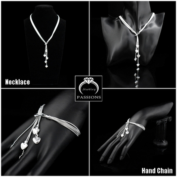 цена Hot Fashion 925 Sterling Silver Multilayer Long Tassel Love Heart Maxi Pendant Necklace Bracelet Jewelry Set Women Luxury Gift онлайн в 2017 году