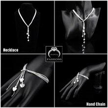 Hot Sale Fashion Star 925 Silver Plate Long Tassel Love-Heart Maxi Necklace Bracelet Jewelry Sets For Women Wedding Jewelry Set