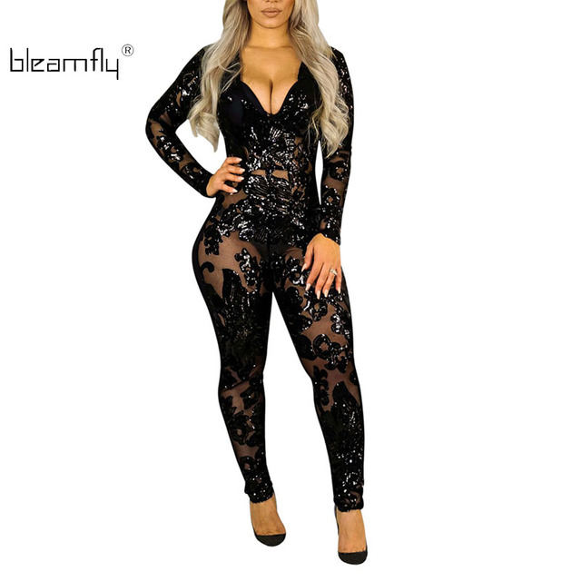 08dd5a3a80a Sexy Women Sequin Jumpsuit 2018 New Long Sleeve Mesh Jumpsuits Skinny  Rompers Club Wear Deep V Neck Black Overall