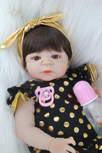 55cm Full Silicone Body Reborn Baby Doll Toy Realistic Newborn Princess Babies Doll With Earring Girl Brinquedos Bathe Toy