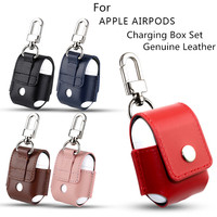 For Apple Airpods Air Pods Genuine Leather Case Luxury Protector Cover Pouch Anti Lost Sleeve With