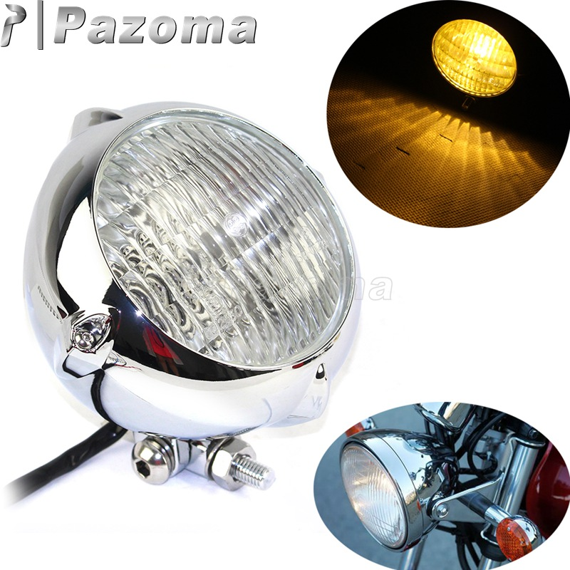 H4 12V Universal Motorcycle Headlight Custom Vintage Round Head Light Scooter Cafe Racer Motorbike Front Headlamp High Low Beam