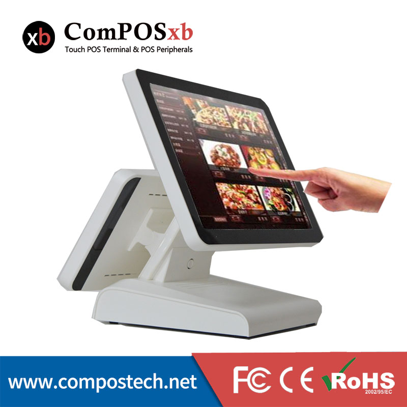The 15-inch pos system has a 12-inch LCD display that displa