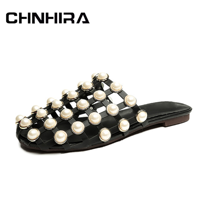 CHNHIRA 2017 New Slippers Pearl Slides Summer Beach Flip Flops Slip On Flats Casual Platform Shoes Woman #CH628 lanshulan bling glitters slippers 2017 summer flip flops shoes woman creepers platform slip on flats casual wedges gold