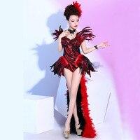 Ночной клуб красное перо танцевальный костюм сцена наряд этап подиуме боди Для женщин Танцы одежда певица Костюмы набор DJ DS