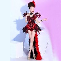 Nightclub Red Feather Dance Costume Stage Performance Outfit Stage Catwalk Bodysuit Women Dancing Wear Singer Clothing Set DJ DS