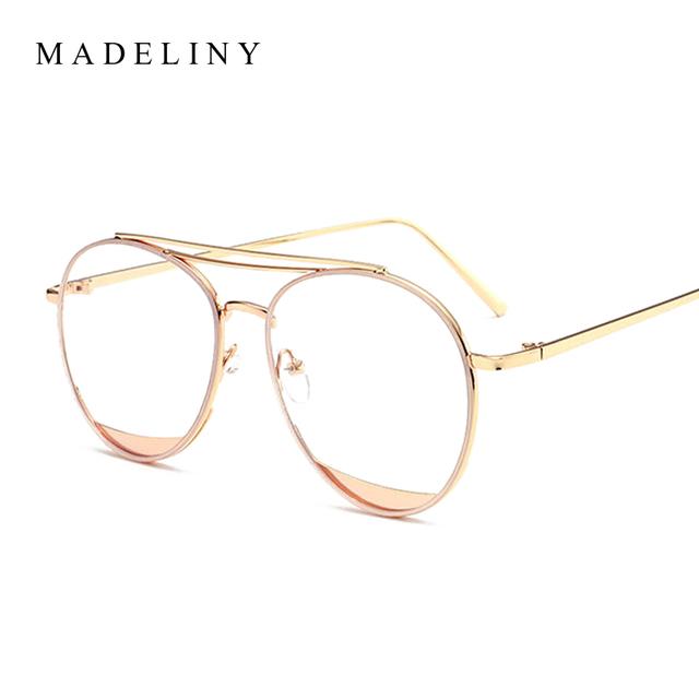 MADELINY Novas Mulheres Da Moda Óculos de Armação 2017 Marca Designer Duplo-Ponte Limpar Lente de Grandes Dimensões Óculos de Armação Oculos MA419