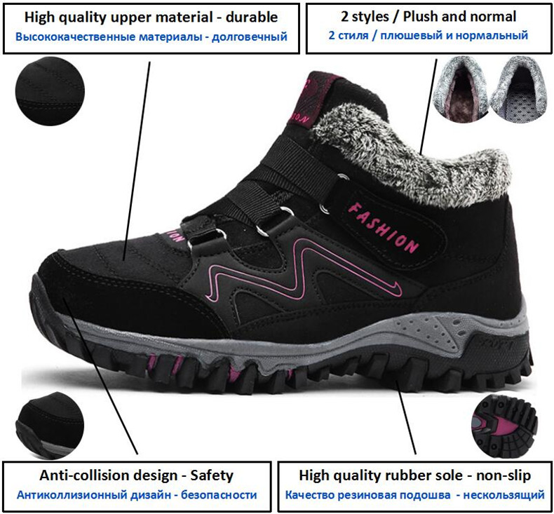 STS BRAND 2019 New Winter Ankle Boots Women Snow Boots Warm Plush Platform Boot Fashion Female Wedge Shoes Snow Waterproof shoes (16)