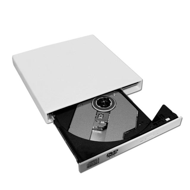 Branco Ultra Fino Portátil USB 2.0 Externo de CD/DVD-RW ROM Drive Player Para Laptop Notebook PC Móvel Para Windows Em estoque!