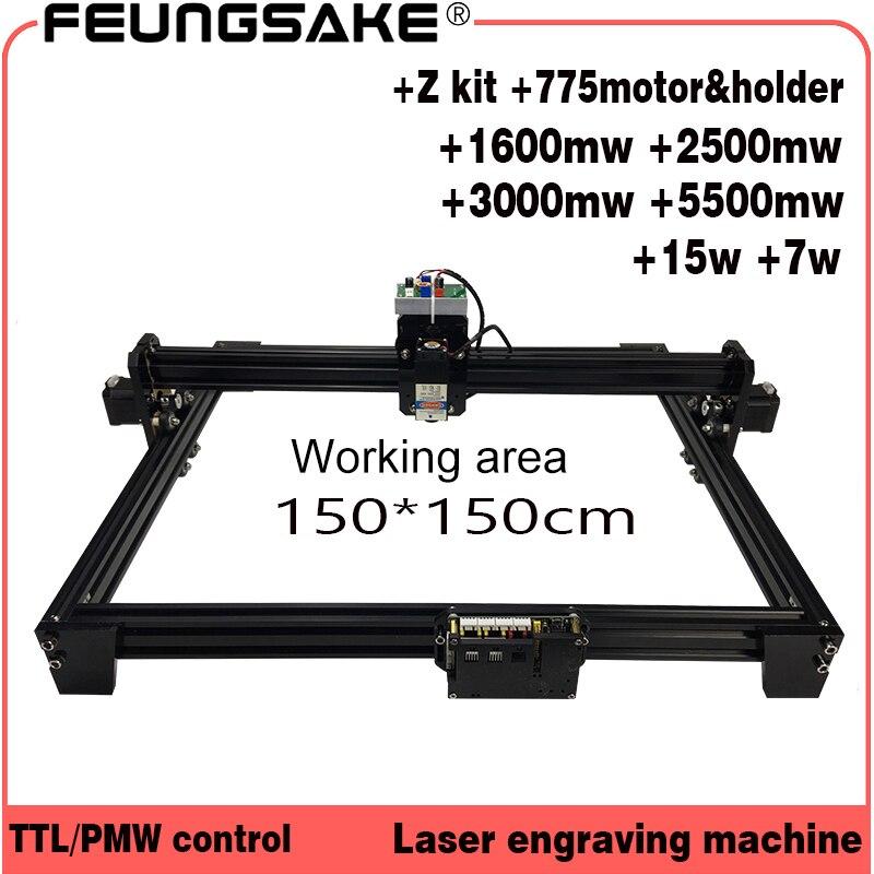 Cnc 150*150 cm canfix Z kit + 15 w laser machine PMW contrôle TTL, laser sculpture machine 5500 mw Laser graveur, Laser Machine De Gravure