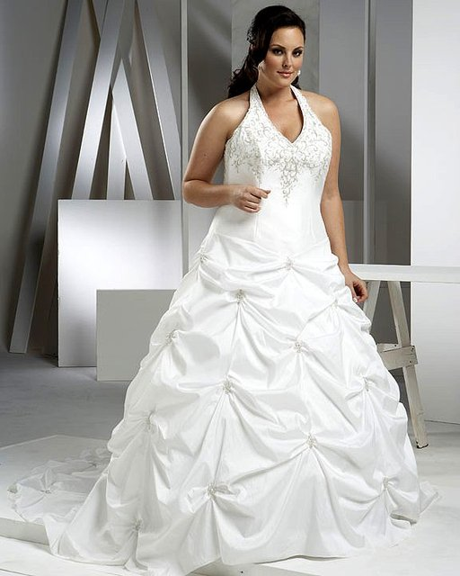 Excellent White Halter Embroidery Pull up Wedding Dress Plus Size ...