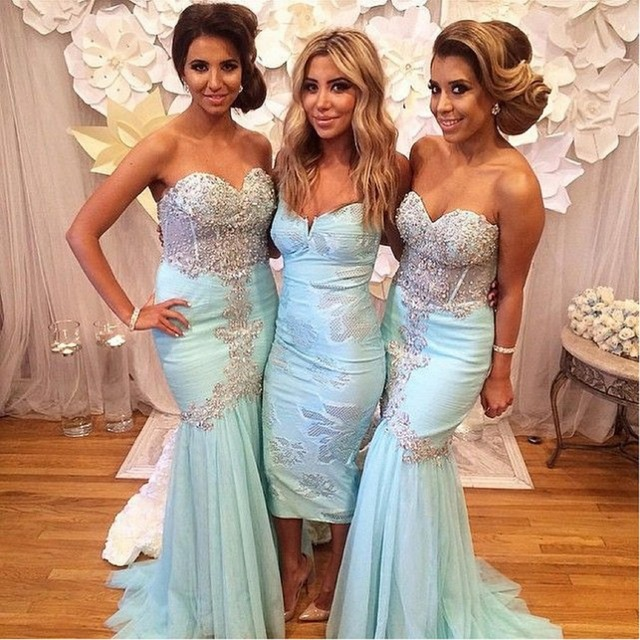 2017 Special Spring Summer See Through Tulle Beading Appliques Top Mermaid  Pleat Ruffles Baby Blue Bridesmaid Dress Plus size 5f78c66291f4