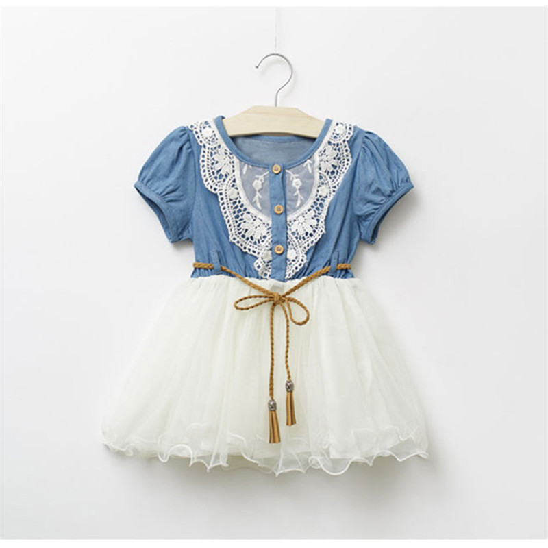 Baby Dress 2018 Cute Kids Girl Short Sleeve Denim Lace Dresses Tutu Ball Gown Dress cute short sleeve pure color embroidered lace girl s mini dress