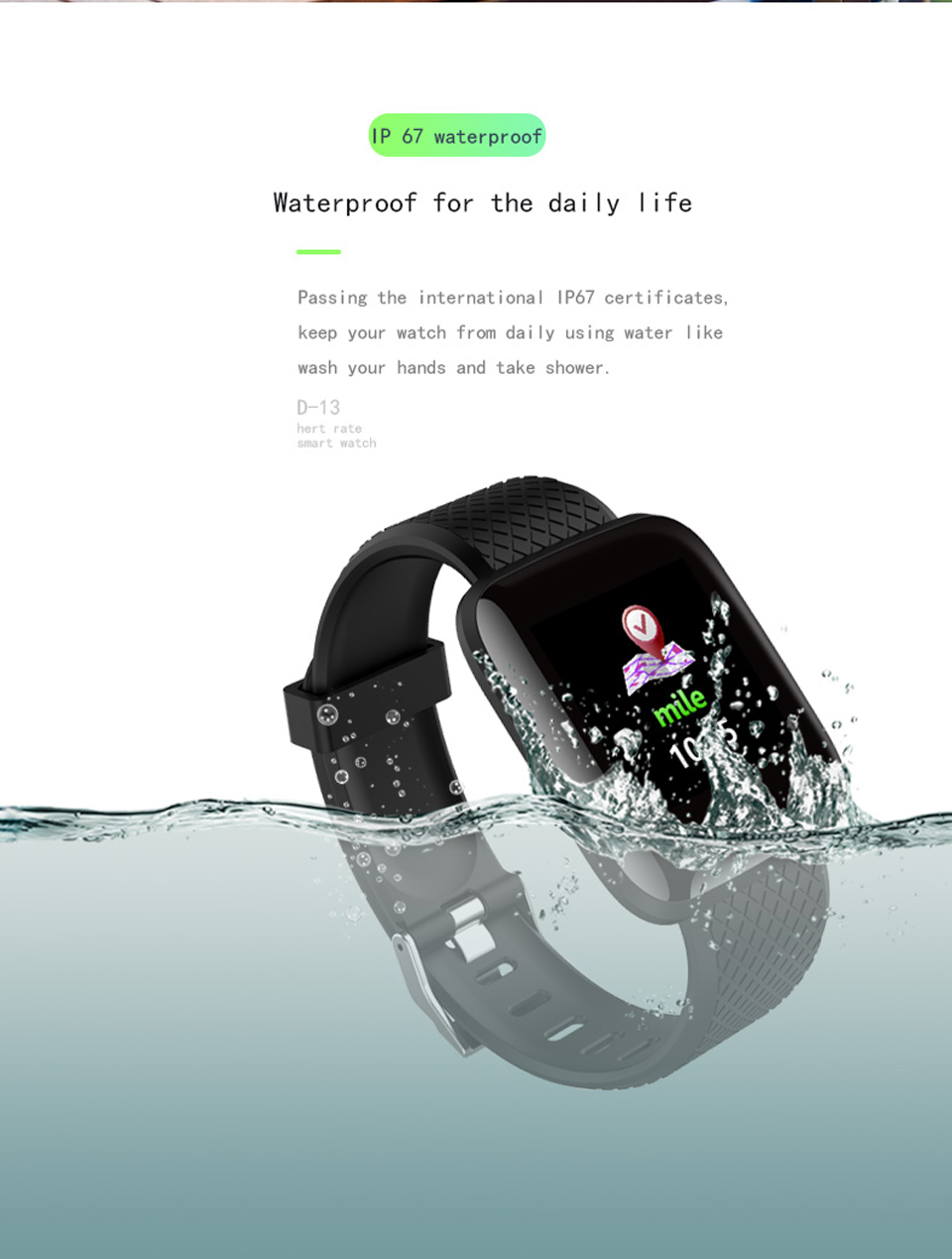 D13 Smart Watch Bracelet Heart Rate Tracker Pedometers Blood Pressure IP67 Waterproof 116 Plus Wirstband For IOS Androd PK IWO 8