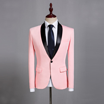 Customized new men's fashion slim pink suit wedding quality groom groomsman suit dress men's casual business office dress