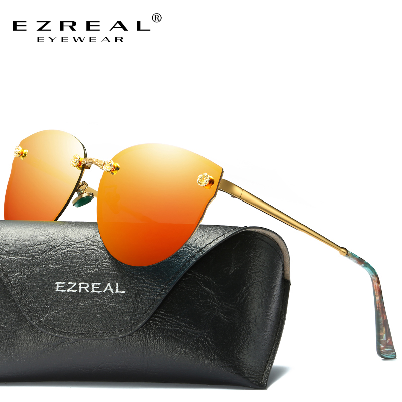 EZREAL მოდის ბრენდის დიზაინერი ქალები პოლარიზებული სათვალეები კლასიკური ბრენდის დიზაინერი ჩრდილები მეტალის ჩარჩო ძვირადღირებული სათვალე 382