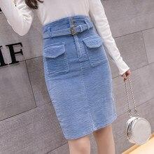 cb16ca0e1cfe0 2018 Fashion Corduroy Skirts Womens Autumn Winter High Waist Pockets Midi  Skirt Plus Size Harajuku Ladies Skirt jupe femme