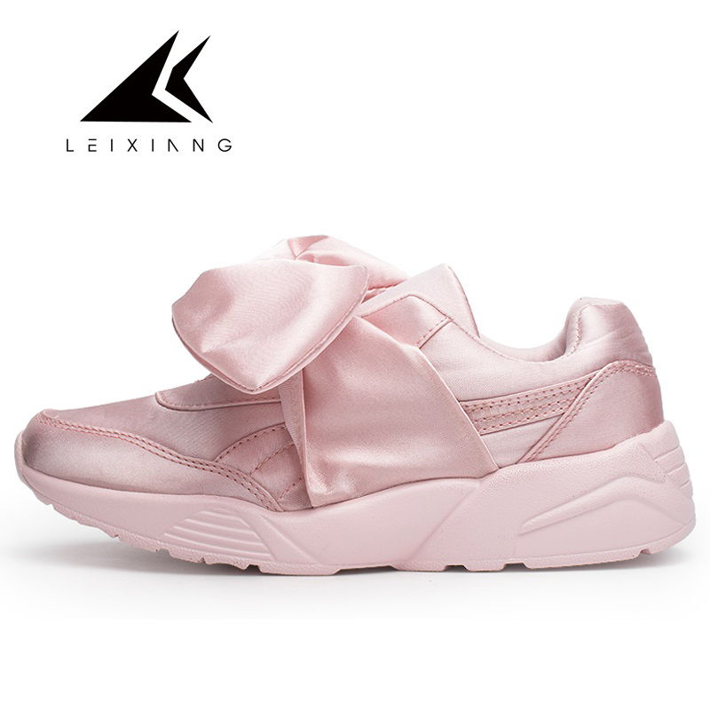 Leixiang Women Walking Shoes Bow Tie Flats For Girls Sneakers Sweet Chaussures Femme Round Toe Shoe Light Sport Shoes Sapatilhas