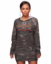 Long Sleeve Camouflage Letter Print Hooded Mini font b Dress b font Autumn Women font b