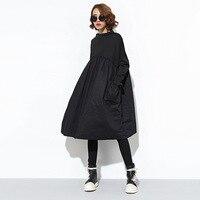 SuperAen Mới Khâu Pluz Kích Thước của Phụ Nữ Dress Dài Tay Mùa Thu và Mùa Đông Hoang Dã Dress Ladies Casual Cotton Loose Phụ Nữ ăn mặc