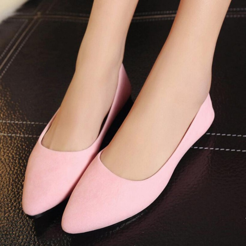 Spring Fashion New Sweet Womens Faux Suede Pointed Toe Shoes Female Ladies Low Heels Slip On Pumps Casual Shoes US Size new 2017 spring summer women shoes pointed toe high quality brand fashion womens flats ladies plus size 41 sweet flock t179