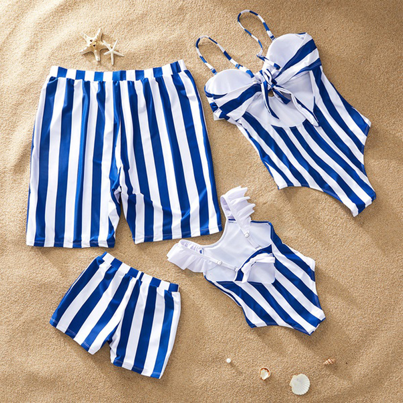 3b4017568 Leaf Swimsuit Family Matching Outfits Look Mother Daughter Swimwear Mommy  and Me Bikini Dress Clothes Father Son Swimming Shorts