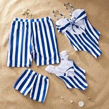 f8eb7fc83a3b8 beach family swimwear striped matching swimsuit mother daughter bikini dad  son swim trunks family matching clothes