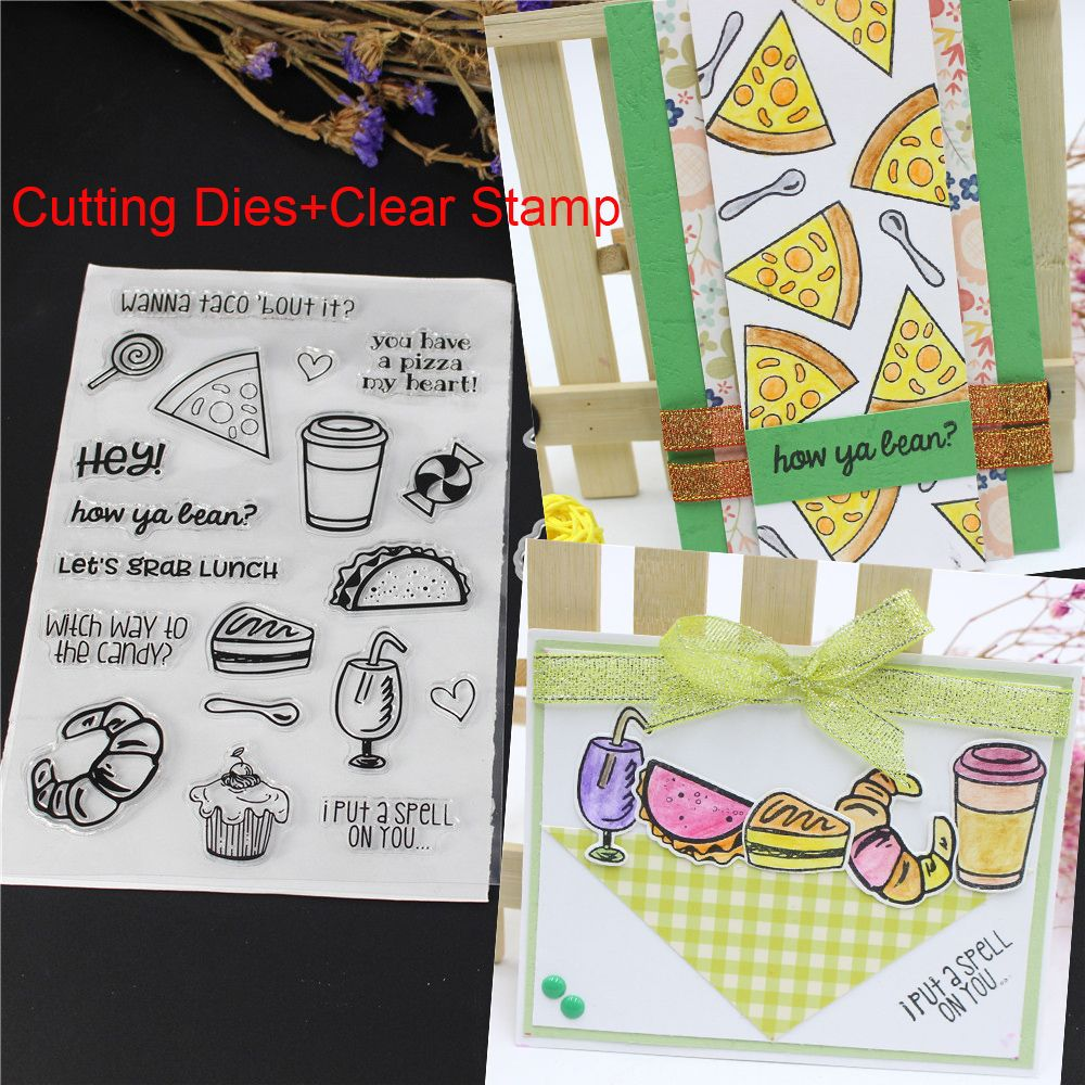 2018 new pizza wafer transparent stampsmetal cutting dies stencil scrapbooking photo album decor embossing paper cards making in cutting dies from home