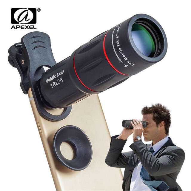 reputable site 56483 9be90 US $14.57 19% OFF|APEXEL 18X Telescope Zoom Mobile Phone Lens for iPhone 8  Samsung S9 Smartphones universal clip Telefon Camera Lens with tripod-in ...