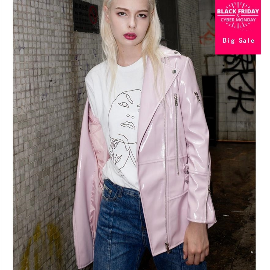 2018 autumn new   leather   jacket tops women's long pink loose black washed   leather   coat long sleeve slim PU learther outwear L1192