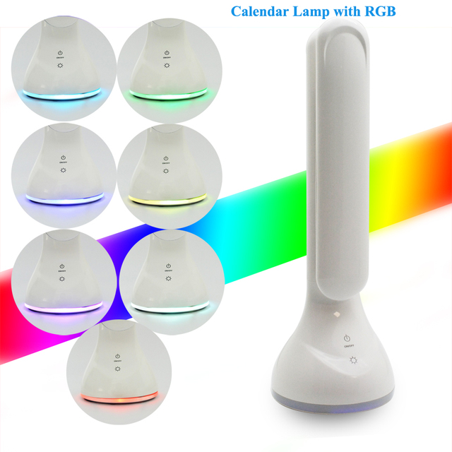Novelty 4W LED Light Foldable Dimmable Desk Lamp With Calendar Temperature Alarm Clock Colors Changing Touch Book Light