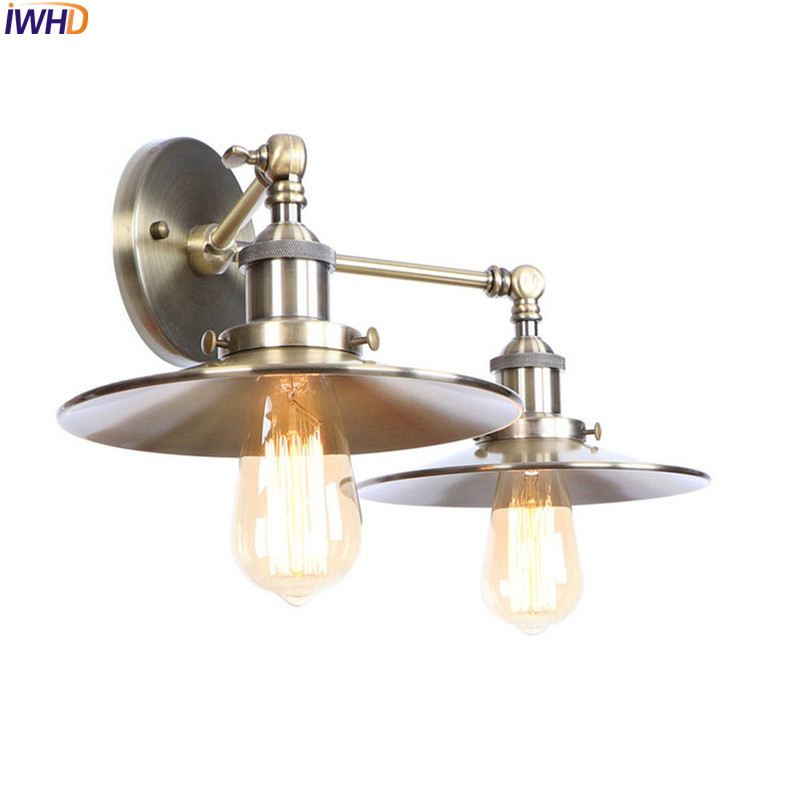 IWHD 2 Heads Brass Retro LED Wall Light Fixures Bedroom Living Room Industrial Vintage Edison Wall Sconce Lampara Pared