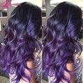Высочайшее Качество Full Lace Человеческих Волос Парики Бразильского Виргинские Волос Фиолетовый парик Мокрой И Объемная Волна Парик Фронта Шнурка С Волосами Младенца 1B/Purple