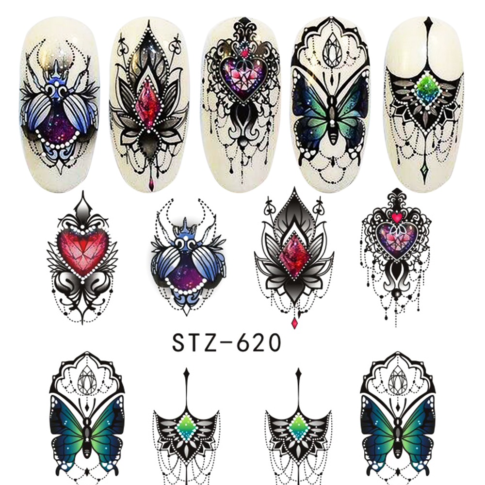 1pcs Nail Water Decals Nail Art Sticker Butterfly Bee Summer Watermark Adhesive Sliders Wraps Decoration Manicure BESTZ608-627