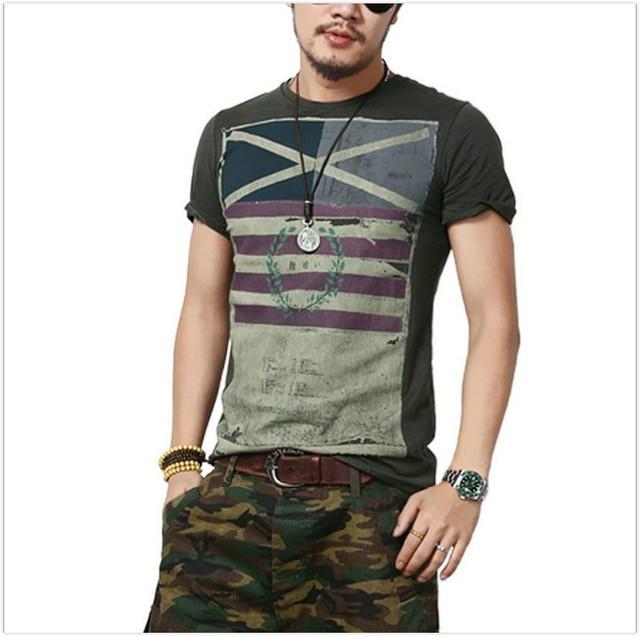 2016 t shirt men summer new retro print short-sleeved tshirt homme fashion  street casual