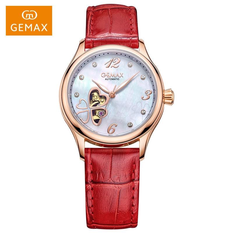 GEMAX Women Watches Automatic Mechanical Watch Shell Diamond Dial Sapphire Waterproof Luminous Ladies Watch Wristwatch Mens