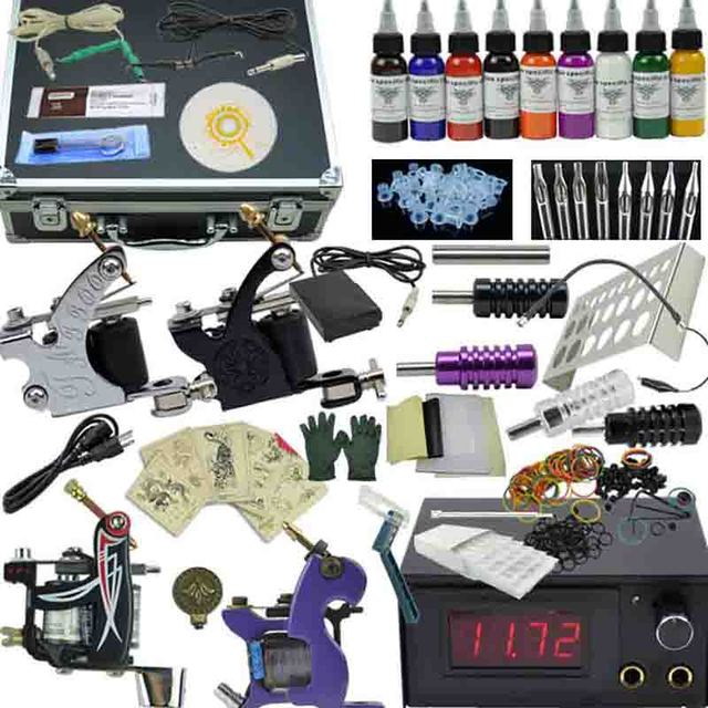 OPHIR Pro 4 Machine Tatto Kit Motor Guns Set 9 Colors Pigment Inks Nozzles Needles Complete Tattoo Kit with Aluminum Box_TA007