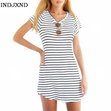 Female Sundress O Neck Robe Sexy Black White Striped Fillibeg Loose Mini Pullover Summer font b