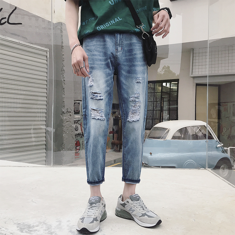 2018 Summer The New listing Pattern Jeans Nine Part Male Favourite Fashion Free shipping bule casual hole hip-hop wild